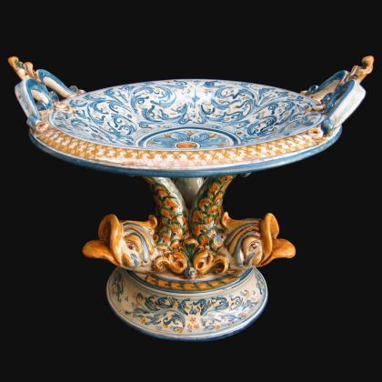 Alzata in ceramica artistica di Caltagirone; Ceramiche artigianali di Caltagirone modellate e decorate interamente a mano.