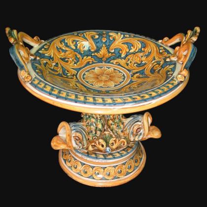 Alzata piede marino Ø 30 ornato fondo blu - Ceramiche artistiche di Caltagirone