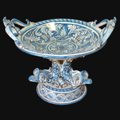 Alzata piede marino Ø 30 ornato in monocromia di blu - Ceramiche artistiche di Caltagirone