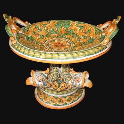 Alzata piede marino Ø 30 ornato fondo verde - Ceramiche artistiche di Caltagirone