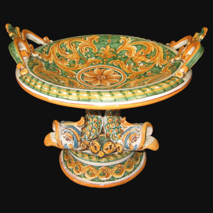 Ceramic riser of Caltagirone with marine foot - Artistic Ceramic of Caltagirone Made in Italy