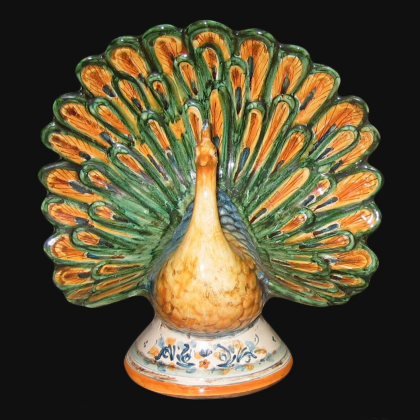 Ceramic peacock Green and Orange - Ceramic of Caltagirone