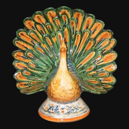 Pavone in ceramica decoro in verde e arancio - Ceramiche di Caltagirone Sofia