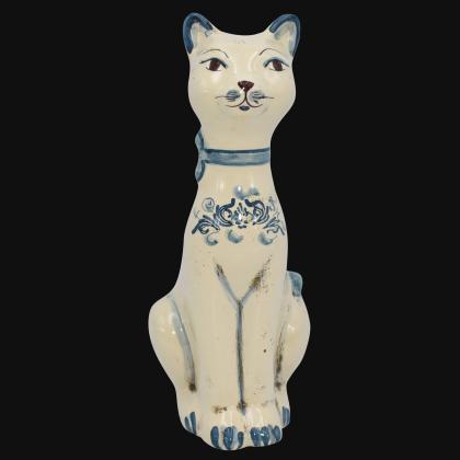 Aristogatto in ceramica s. arte mono blu - Ceramiche di Caltagirone Sofia
