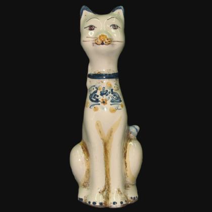 Aristogatto in ceramica s. arte blu/arancio - Ceramiche di Caltagirone Sofia