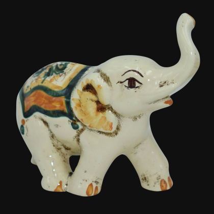Ceramic elephant Green and Orange - Ceramic of Caltagirone