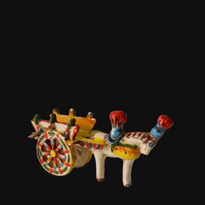 Carretto Siciliano piccolo in Ceramica tricolore - Ceramiche di Caltagirone Sofia