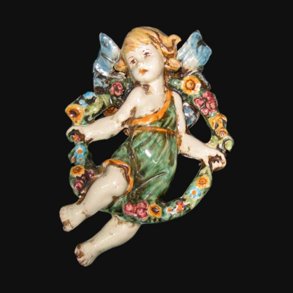 Angel Spring in green and orange - Italian Pottery of Sicily, Caltagirone
