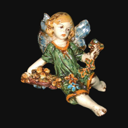 Angel Winter in green and orange - Italian Pottery of Sicily, Caltagirone