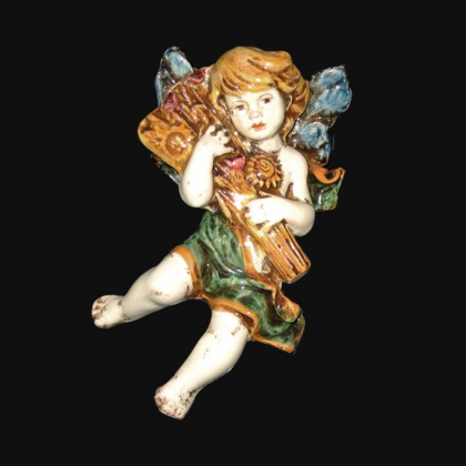 Angel Summer in green and orange - Italian Pottery of Sicily, Caltagirone