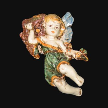 Angelo 4 Stagioni autunno in verde e arancio in Ceramica Artistica di Caltagirone