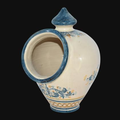 Saliera con buco cm 18x26 s. d'arte blu/arancio in Ceramica Artistica di Caltagirone