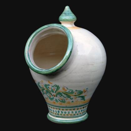 Saliera con buco cm 18x26 s. d'arte verde/arancio in Ceramica Artistica di Caltagirone