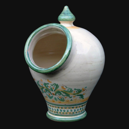 Salt shaker with hole 18x26 cm verde/arancio Italian Pottery of Sicily, Caltagirone