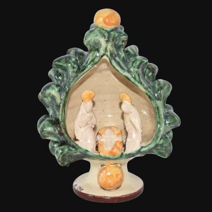 Natività a pigna h 12 verde arancio - Natale a Caltagirone