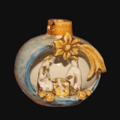 Natività mini pallina h 10 blu arancio - Presepi di Caltagirone