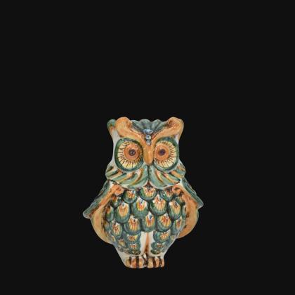 Gufo h 15 verde/arancio - Animali in ceramica