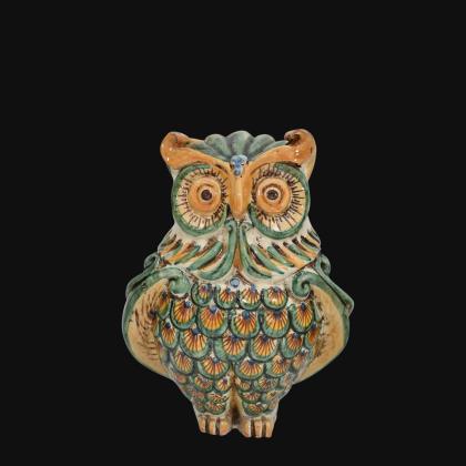 Gufo h 20 verde/arancio - Animali in ceramica