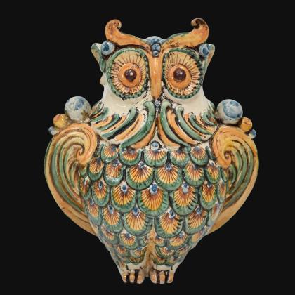Gufo h 30 verde/arancio - Animali in ceramica