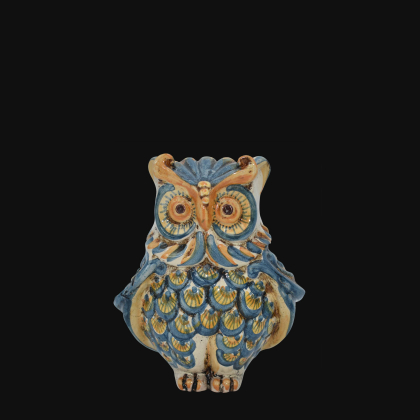 Gufo h 15 blu/arancio - Animali in ceramica
