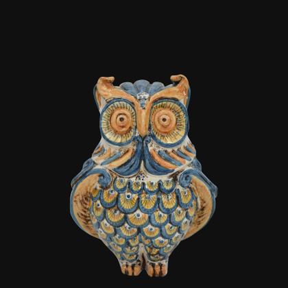 Gufo h 20 Blu/arancio - Animali in ceramica