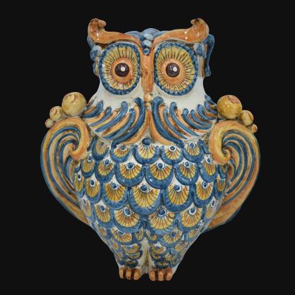 Gufo h 30 blu/arancio - Animali in ceramica