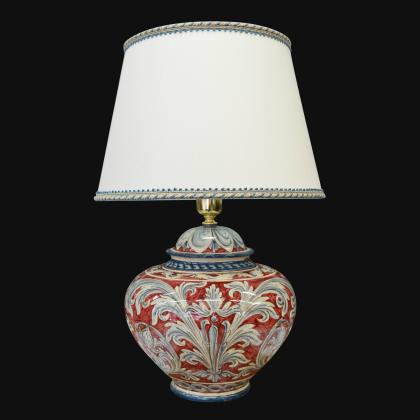 Lume palla ornamentale ornato blu e bordeaux - Ceramiche di Caltagirone