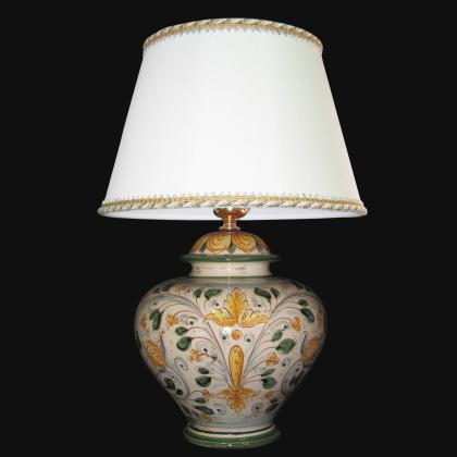 Lume palla ornamentale antico fogliame - Ceramica di Caltagirone Sofia