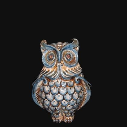 Gufo h 15 monocromia di blu - Animali in ceramica