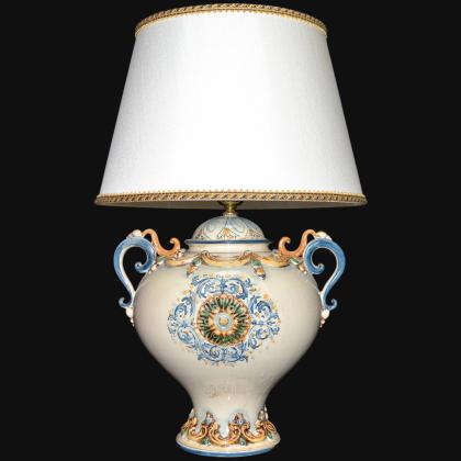 Lume palla c/manici h 65 in blu e arancio - Ceramiche di Caltagirone Sofia