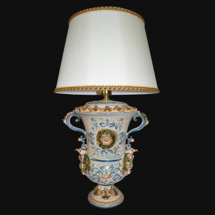 Acquasantiera Monocromia di Blù in Ceramica artistica di Caltagirone