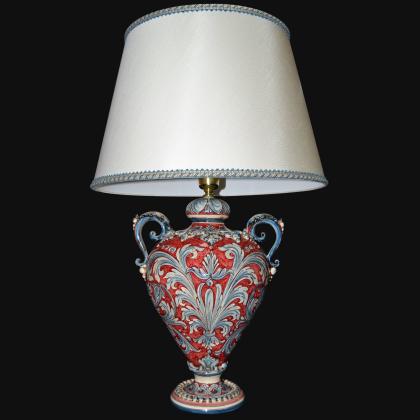 Ornamental light in ceramics of Caltagirone Ornate Burgundy - Artistic ceramics Sofia