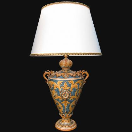 Lume coppa ornamentale ornato fondo blu - Ceramiche di Caltagirone Sofia