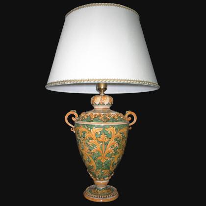Lume coppa ornamentale ornato fondo verde - Ceramiche di Caltagirone Sofia