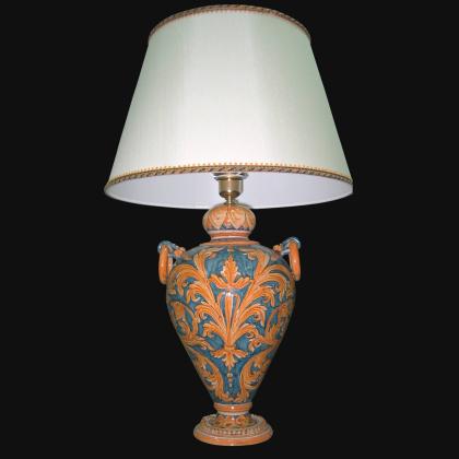 Lume Ornamentale in ceramica di Caltagirone Ornato Fondo Blu