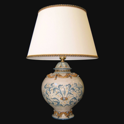 Lume palla ornamentale senza manici h 65 in blu e arancio - Ceramiche Sofia